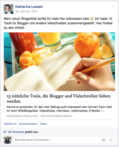 Facebook-Post in Gruppe