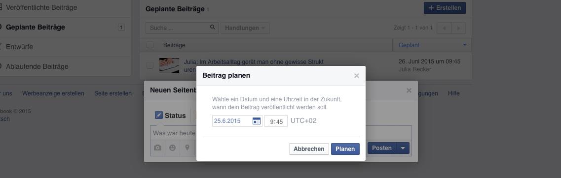 Facebook-Post-planen