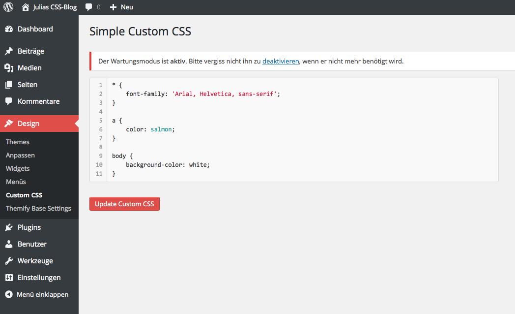 Screenshot WordPress Plugin Simple Custom CSS