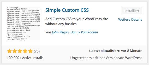 WordPress Plugin Simple Custom CSS
