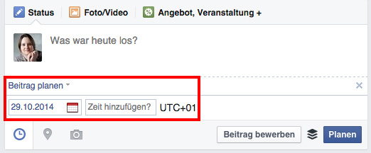 Screenshot Facebook Planungsfunktion