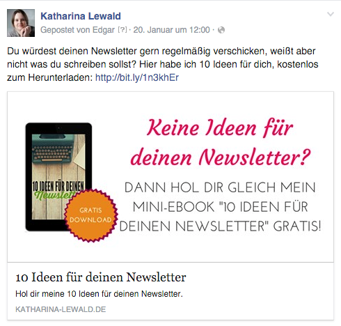 freebie bei facebook posten