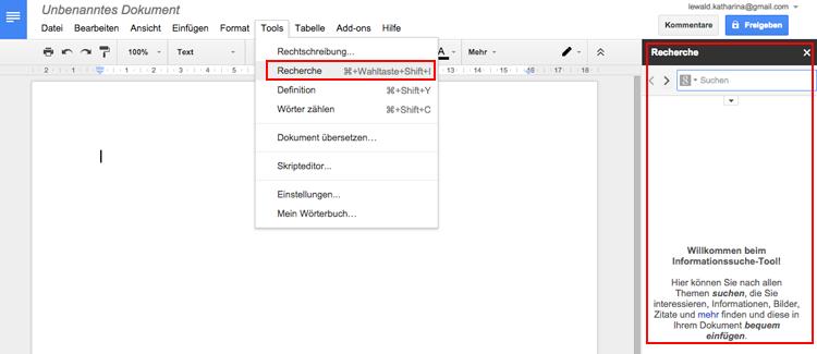 google docs recherchemodusgoogle docs recherchemodus