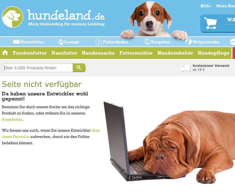 404-Seite von hundeland.de
