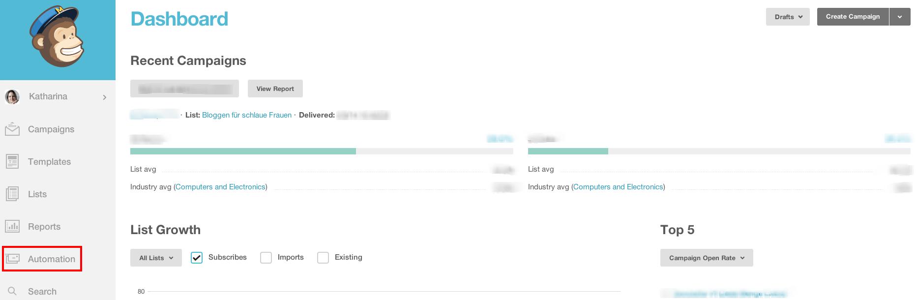 Screenshot vom Menüpunkt Automation in Mailchimp