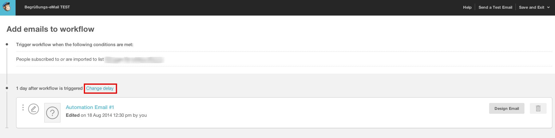 Screenshot vom Menüpunkt Change Delay in Mailchimp