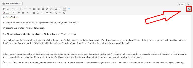 modus für ablenkungsfreies schreiben in wordpress